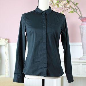 H&M Black Button Down Blouse Size 8